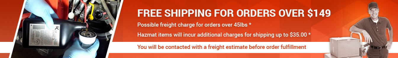 Free shipping for orders over $45. If order is over 45lbs you will be contacted with an additional freight estimate before order fullfillment.